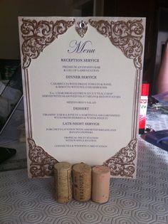 DIY Wedding menus