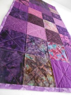 Quilt Table Runner Purple Lavender Batik Fabrics  by SEWFUNQUILTS