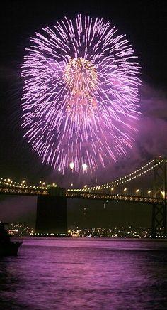 Fireworks above Bay Bridge in San Francisco