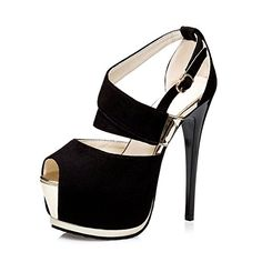 Womens Comfort Velvet Sexy Peeptoe Ankle Strap Platform High Heel Stiletto Dress Party Pump Black US Size 7 <3 Clicking on the VISIT button will lead you to find similar product