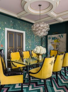 Bright yellow chairs add punch to this bright dining room in a penthouse I designed  | Tobi Fairley Interior Design