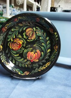 A Black 8 Stoneware Plate Hand painted in an by FolkArtByNancy, $28.00
