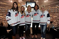 LOS ANGELES, CA - APRIL 27: Hilary Knight, Amanda Kessel, Jocelyne Lamoureux, Julie Chu and Monique Lamoureux of the USA Women's Hockey Team pose for a picture during the game between the Los Angeles Kings and the San Jose Sharks at Staples Center on April 27, 2013 in Los Angeles, California. (Photo by Evan Gole/NHLI via Getty Images)
