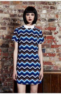 Louche Dree Chevron Contrast Collar Shift Dress