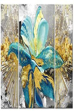 3 Panel Modern Canvas Flower Wall Art Abstract Gold Teal Floral Paintings on Canvas Still Life Artwork for Home Kitchen Living Room Bedroom Decorations Wall Decor Living Room Kitchen, Living Room Bedroom, Bedroom Decor, Wall Decor, Wall Art, Artwork For Home, Floral Paintings, Canvas Prints, Art Prints