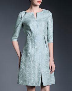Blue Luxury Floral Jacquard A-line Sheath Dress