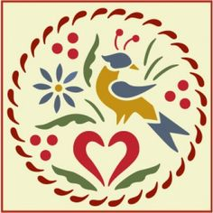 Distlefink Bird Stencil | Rosemaling and Kurbits Scandinavian Design | Good luck symbol to Pennsylvania Dutch | Delightful home decor and crafting stencil from The Artful Stencil! US Shipping in only 5 days. We ship all over the world | Pennsylvania German and Dutch Folk Art, Fraktur Illustrations, Early American, Colonial, Primitive and Country. Denmark, Norway, Sweden, Finland, and Iceland.