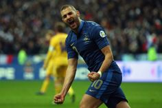 Karim Benzema of France celebrates scoring during the FIFA 2014 World Cup Qualifier Play-off second leg match between France and Ukraine at ...