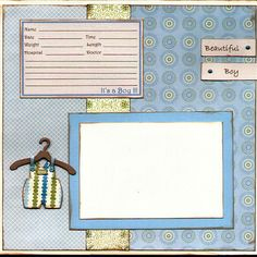 Baby Boy Birth Announcement Scrapbook Page by Captured Moments Scrapbooking, via Flickr
