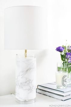 20 Chic Marble Contact Paper DIYs: DIY Faux Marble Lamp