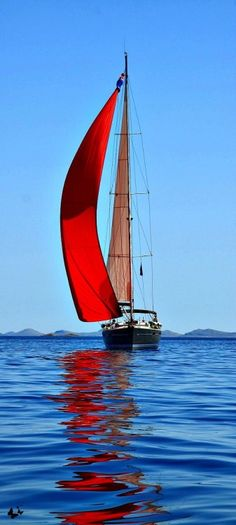 Regilla ⚜ Love the red sail with the blue of the sky and water!