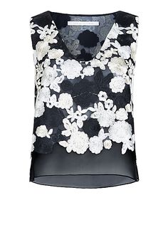 DVF Jojo Floral Embroidered Mesh Crop Top in Black/ Ivory Multi