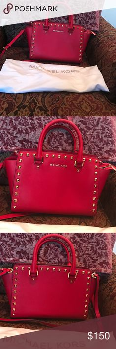 Michael Kors Medium Stud Satchel The bag is in excellent condition and the color is chilli. And sorry I'm not doing any trades. Michael Kors Bags Satchels