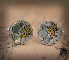 Steampunk Cufflinks  with vintage watch movements. Upcycled watch movements mens Cuff Links