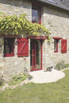 Porte-fenêtre en aluminium rouge