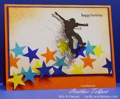 Teen Boy birthday card. Stars, slinging, skater boy.
