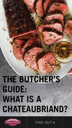 The chateaubriand, a roast-size filet mignon, is designed to impress w/ mild beef flavor & incredible tenderness. Here's the chateaubriand butcher's guide. Dinner Entrees, Dinner Recipes, Filet Mignon Roast, Best Cut Of Beef, Cooking Risotto, Omaha Steaks, Quirky Cooking, Prime Rib Roast