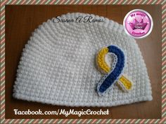 Down Syndrome Awareness Ribbon Crochet Hat, https://www.etsy.com/your/shops/MyMagicCrochetUS