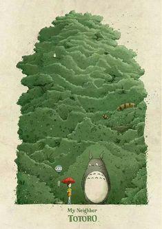 Tonari no Totoro Hayao Miyazaki, Totoro Poster, Manga Art, Anime Art, Art Studio Ghibli, Isao Takahata, Color Palette Challenge, Japanese Animated Movies, Ghibli Movies