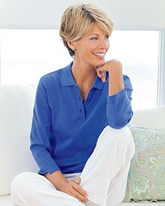 Women's Polo Shirts - UltraSofts by National UltraSofts 34 Sleeve Knit Polo *** Click image for more details.