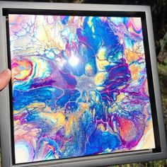 """Float Framed Abstract Painting. All of the colors in this piece (excluding the white negative space) shimmer and shine! Canvas Size 8""""x 8""""x .75"""", Framed Size: 9.5"""" x 9.5"""" x 2"""" Abstract Expressionism, Abstract Art, Unique Wall Art, Negative Space, Floating Frame, Resin Art, Framed Wall Art, Canvas Size, Home Interior Design"""