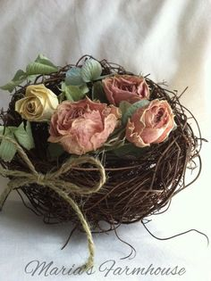 Dried flowers bird's nest would be great in a little decorative tree on the porch or living room.