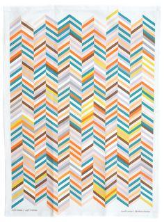 Herringbone Tea Towel - beautiful colour combination, potential inspiration for a crochet blanket