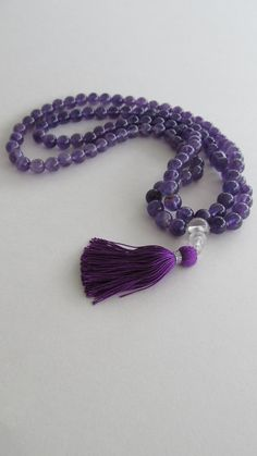 Mala 8mm Amethyst 108 beads mala by Sphalie on Etsy