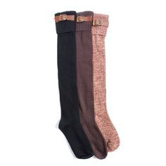 Women's 3 Pair Pack Buckle Cuff Over the Knee Socks
