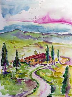 Holiday In Tuscany Italy Original Watercolor & Ink 24 by 18 inch by Ginette #amalfi #italy #travel #travelart #paintings #ginettecallaway