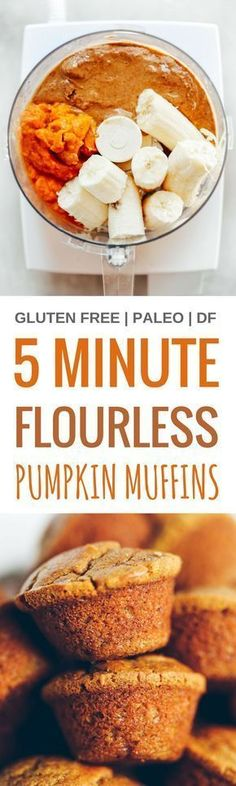 5 Minute 71 calorie paleo pumpkin spice protein muffins Flourless pumpkin banana muffins make for easy meal prep perfect for cozy fall breakfasts or post workout fuel Nat. Pumpkin Recipes, Fall Recipes, Whole Food Recipes, Cooking Recipes, Holiday Recipes, Gluten Free Baking, Gluten Free Recipes, Paleo Baking, Healthy Sweets