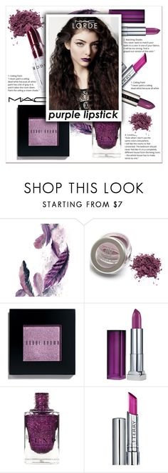 """Purple Lipstick"" by ladydzsen ❤ liked on Polyvore featuring beauty, Rodin, Bobbi Brown Cosmetics, Maybelline, By Terry, MAC Cosmetics, lorde and purplelipstick"