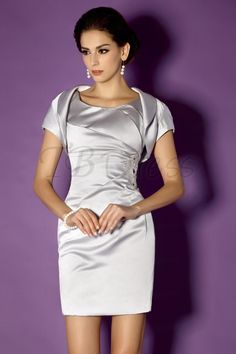 Charming Sheath/Column Scoop Neckline Knee-length Taline's Mother of the Bride Dress with Bolero