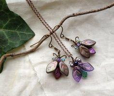 Iridescent Bug/Beetle Earrings  by BaroqueGarden on Etsy, $45.00