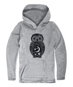 Look at this #zulilyfind! Athletic Heather Moon & Stars Owl Pullover Hoodie #zulilyfinds