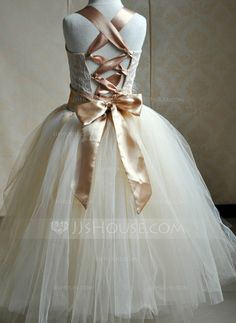 A-Line/Princess Square Neckline Floor-Length Flower(s) Bow(s) Lace Up Regular Straps Sleeveless No Other Colors General Tulle Flower Girl Dress