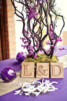 Purple, candleholder, burlap, etc etc LOVE IT