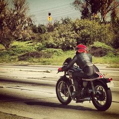 Cafe Racer Girl, near Long Beach, California