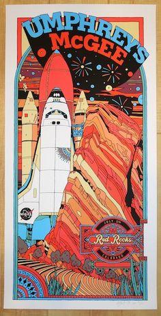 Umphrey\'s McGee - silkscreen concert poster (click image for more detail) Artist: Tyler Stout Venue: Red Rocks Amphitheatre Location: Morrison, CO Concert Date: 7/5/2014 Size: 12 x 24\