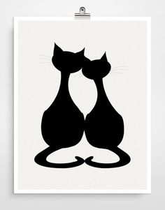 Cat Silhouette Art, Animal Art, Kids Wall Art, Black Cat, Gift for cat lovers - Color Choices: