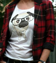 Pug+Shirt+Cute+Nerd+Pug+Wearing+Glasses+Tshirt+by+suzannecarillo,+$25.00