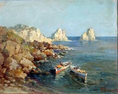 Ezelino Briante ( Napoli 1901 - Roma 1972 ) Faraglioni a Capri