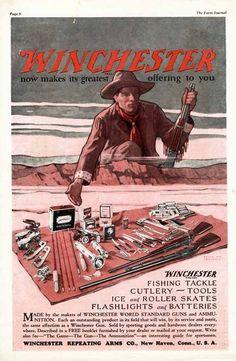 WINCHESTER Gun Ad - 1929 - Cowboy - Rifle - Fishing Tackle - Tools, etc. #WinchesterRepeatingArmsCo
