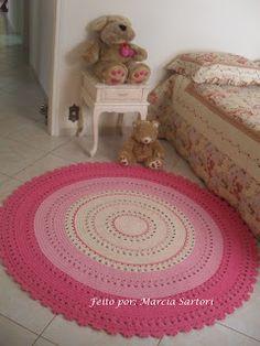 marcia sartori crochetando: Tapete Redondo Rosa