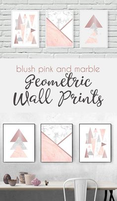 This rose gold, blush pink and marble geometric wall prints set would compliment any room in your house, particularly a living room, bedroom, dressing room or girls bedroom adding a lovely finishing touch. Rose Gold Bedroom Wallpaper, Pink And Silver Bedroom, Pink Master Bedroom, Pink Bedroom Walls, Blush Pink Bedroom, Pink Bedroom Design, Marble Bedroom, Pink Bedrooms, Pink Room