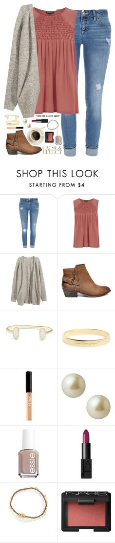 """I love that feeling I get when I hear your voice."" by kaley-ii ❤ liked on Polyvore featuring River Island, Warehouse, H&M, Steve Madden, Kendra Scott, Kate Spade, Maybelline, Envi, Carolee and Essie"