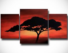 Original Acrylic African Tree Abstract Painting by TalieBagleyArt