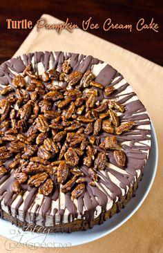 Turtle Pumpkin Ice Cream Cake: An Easy and Impressive #Thanksgiving Dessert | ASpicyPerspective.com #holidays #icecream #pumpkin
