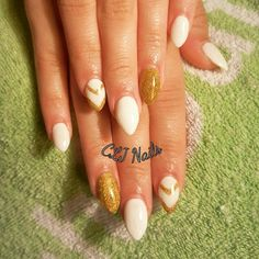 White and gold gel nails