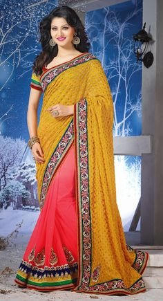 Yellow and Red color Half And Half Saree-Net Embroidered #Saree